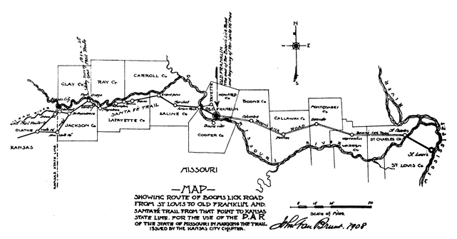 Santa Fe Trail and Boone's Lick Trail Map