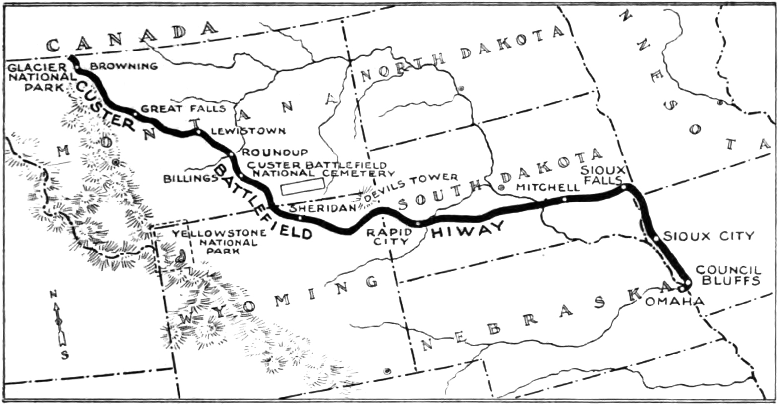 Map of the Custer Battlefield Hiway