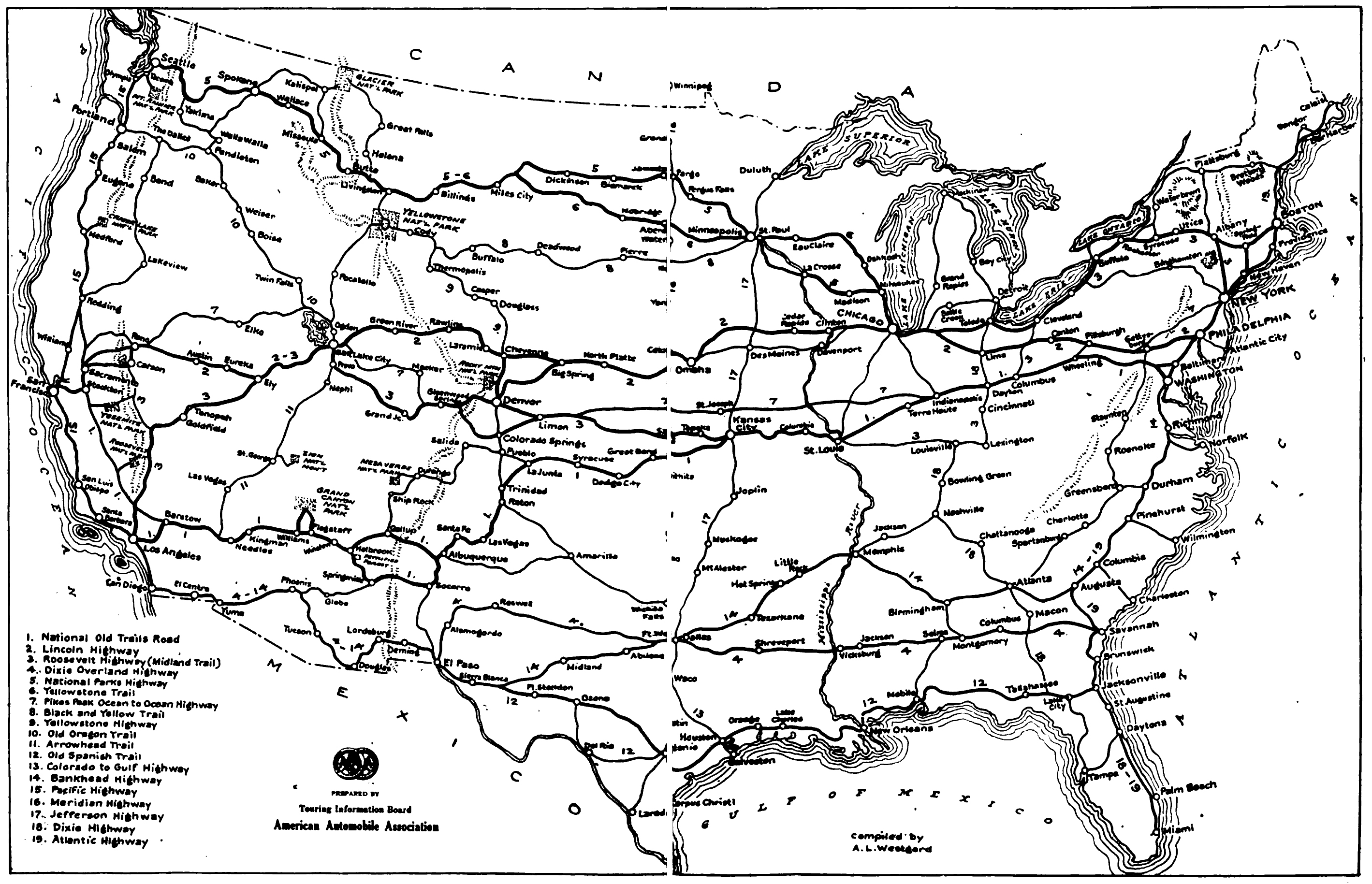 Map of trunk highways in 1919