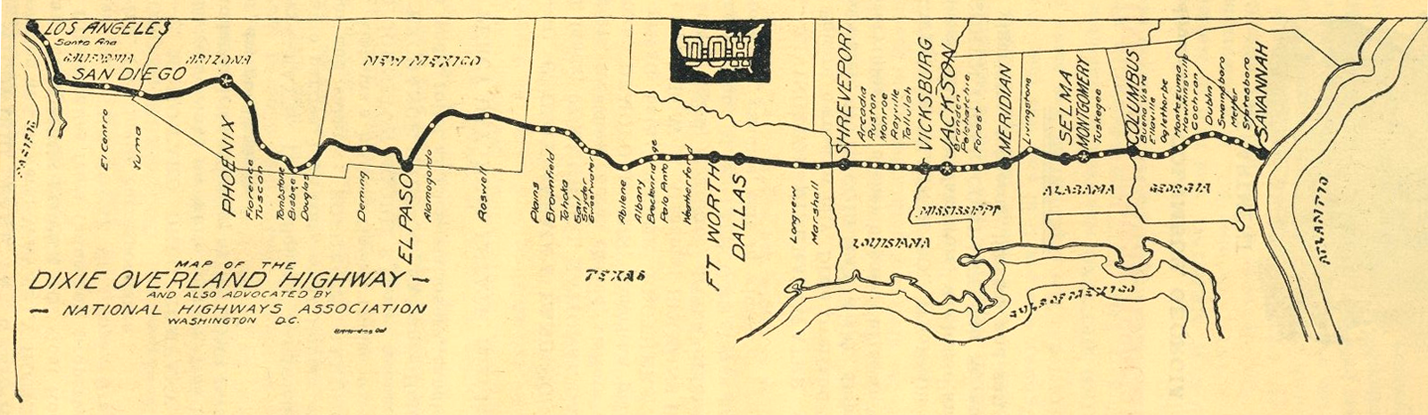 Dixie Overland Highway National Highways Association Map